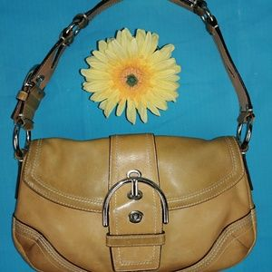 COACH Brown Tan Camel Saddle Leather Hobo Handbag